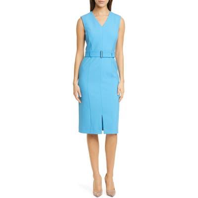 Boss Dadorina Belted Sleeveless Virgin Wool Sheath Dress, 8 (similar to 1) - Blue