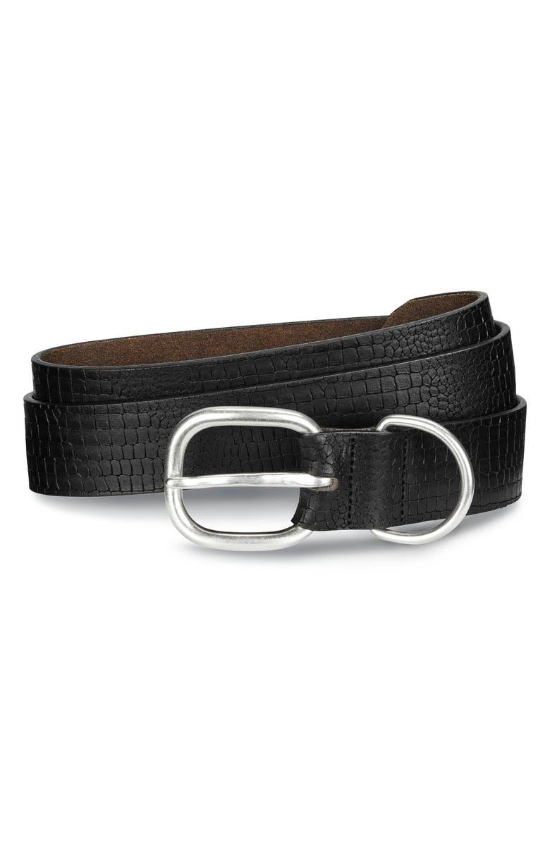 ALLEN EDMONDS Croco Print Leather Belt, Main, color, BLACK