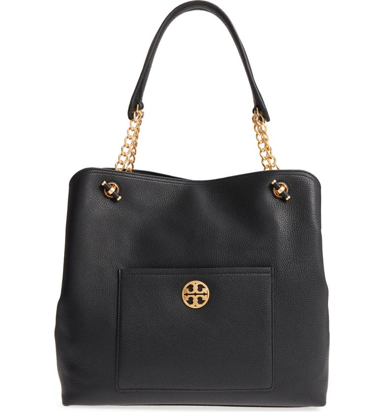 TORY BURCH Chelsea Slouchy Leather Tote, Main, color, 001