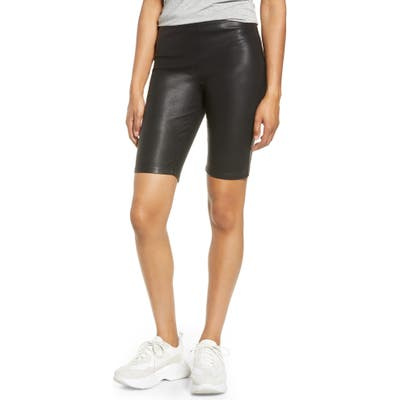 Blanknyc Faux Leather Biker Shorts, Black