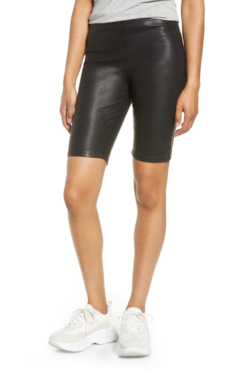 BLANKNYC Faux Leather Biker Shorts, Main, color, 001