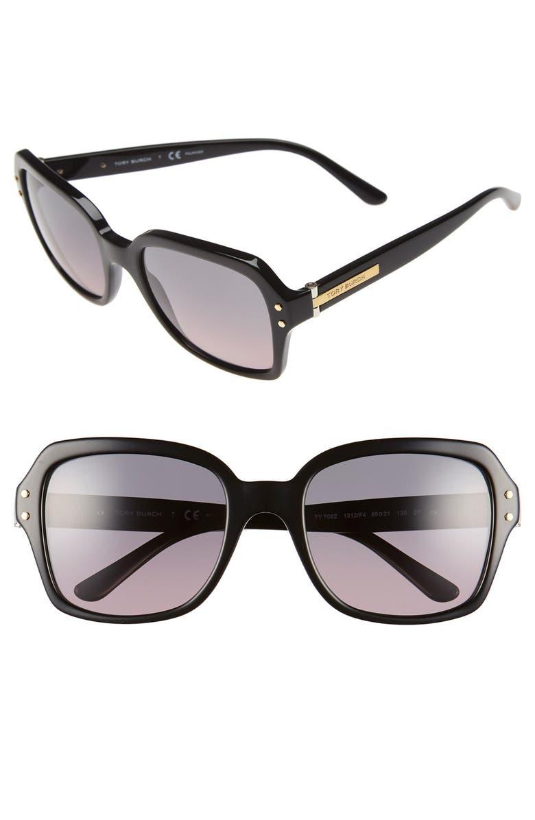 TORY BURCH 55mm Polarized Sunglasses, Main, color, 001