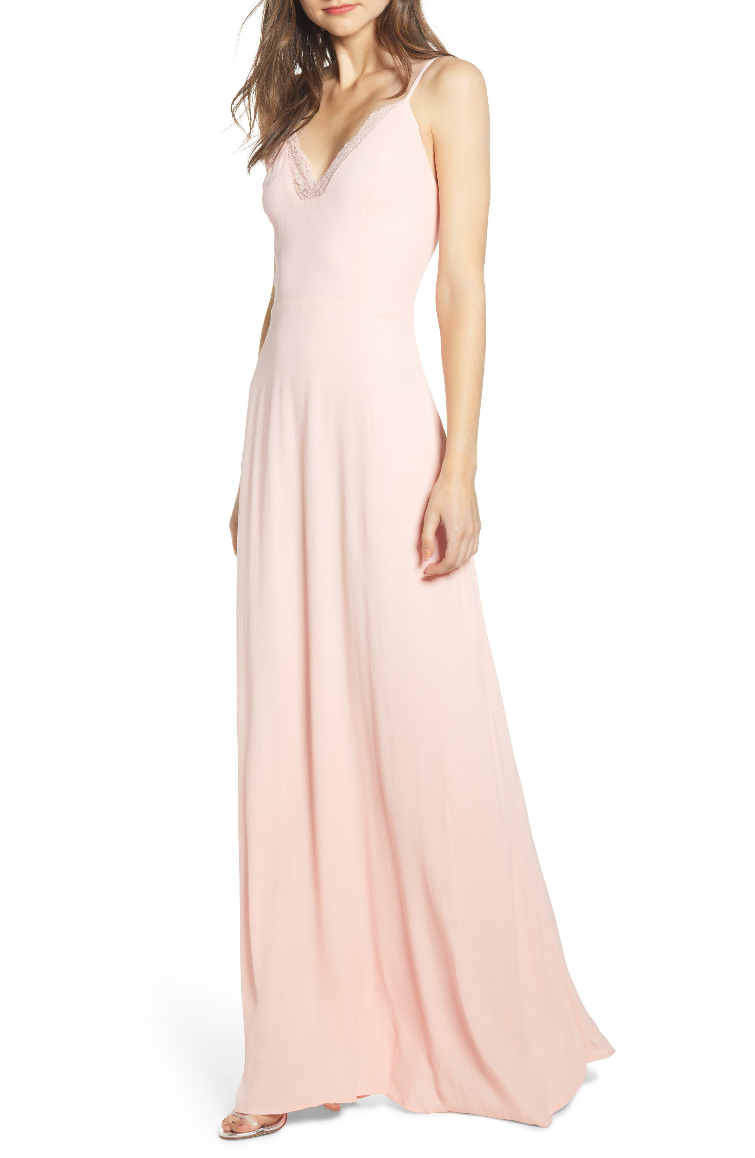 Leith Lace Trim Maxi Dress, Pink
