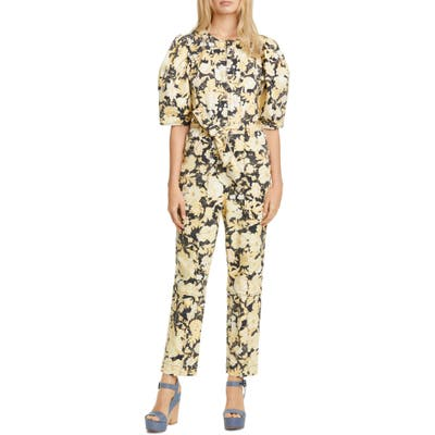Rebecca Taylor Gold Leaf Puff Sleeve Utility Jumpsuit, Black