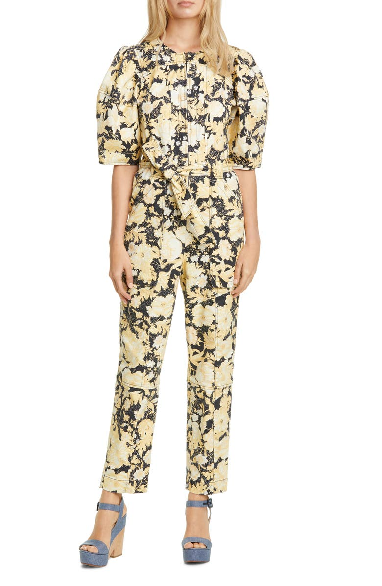 REBECCA TAYLOR Gold Leaf Puff Sleeve Utility Jumpsuit, Main, color, BLACK COMBO