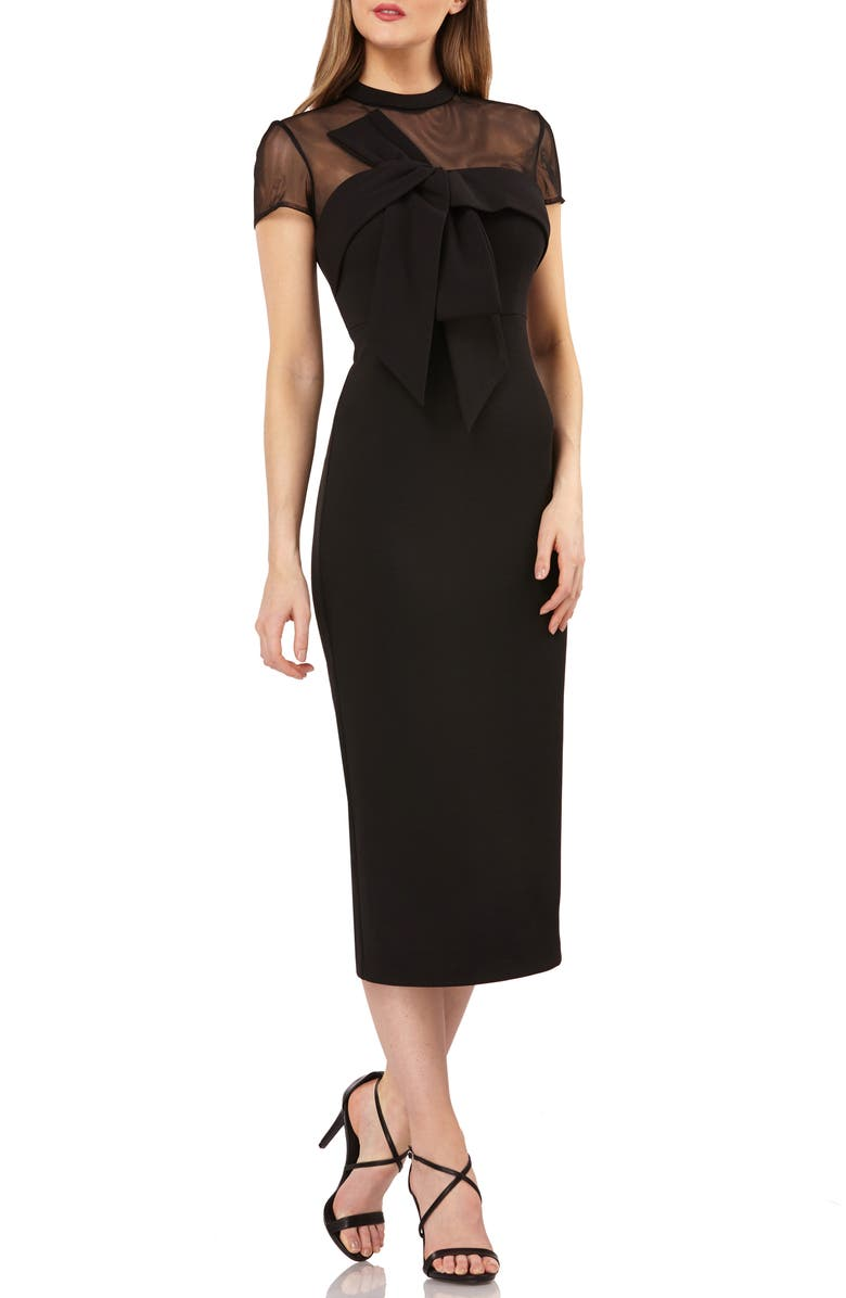 JS COLLECTIONS Bow Detail Midi Dress, Main, color, BLACK