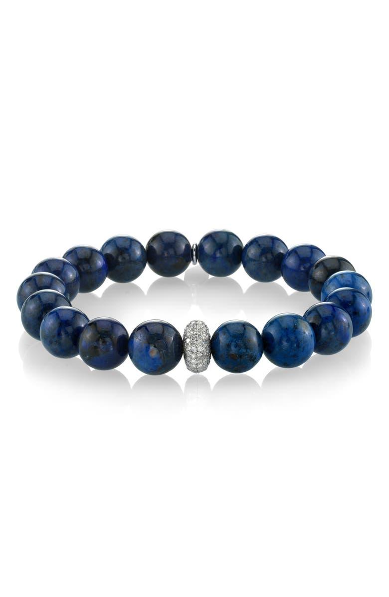 SHERYL LOWE Dumoriterite Bracelet with Pavé Diamond, Main, color, DUMORTIERITE