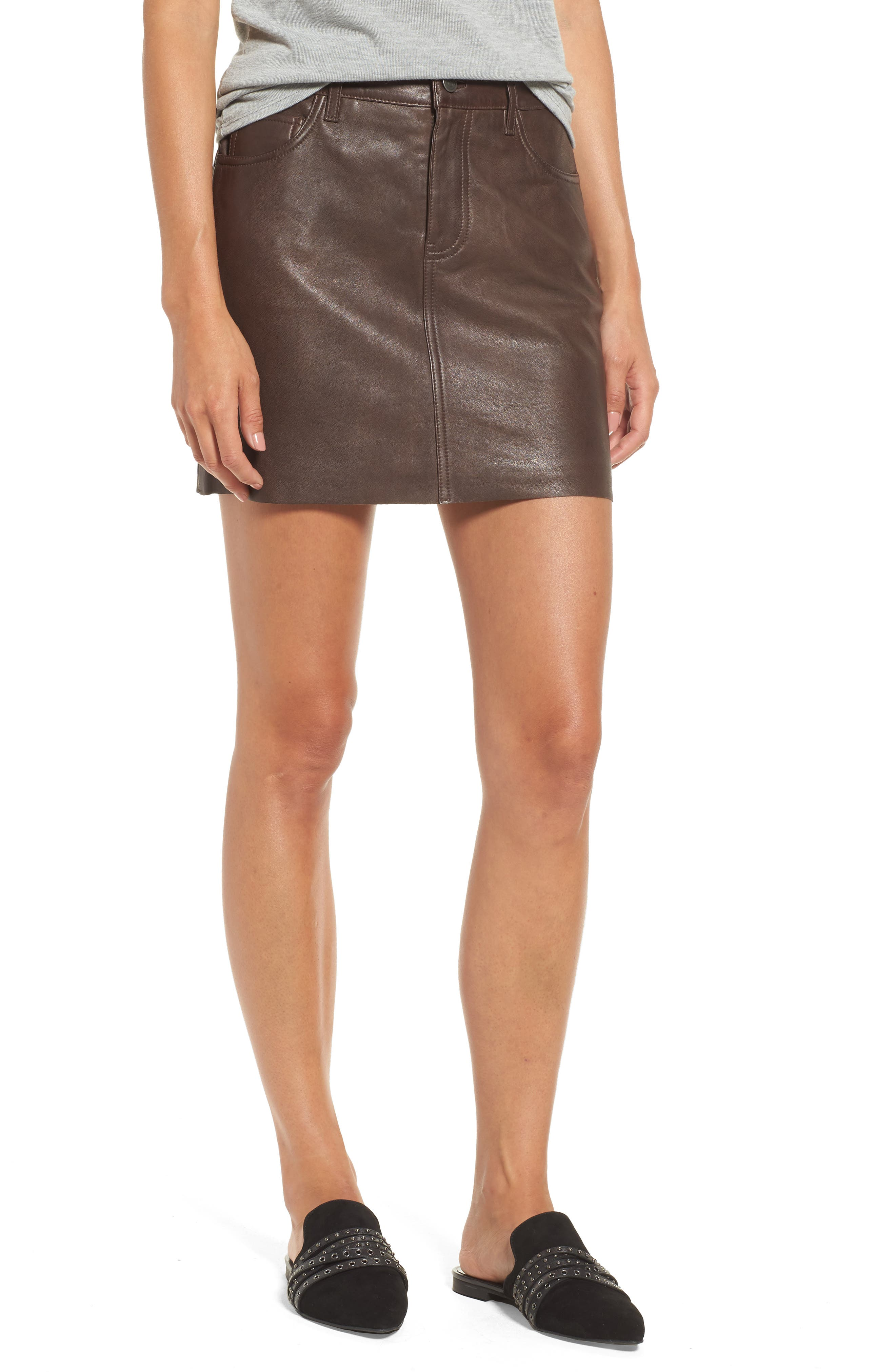 x Something Navy Leather Miniskirt, Main, color, 200