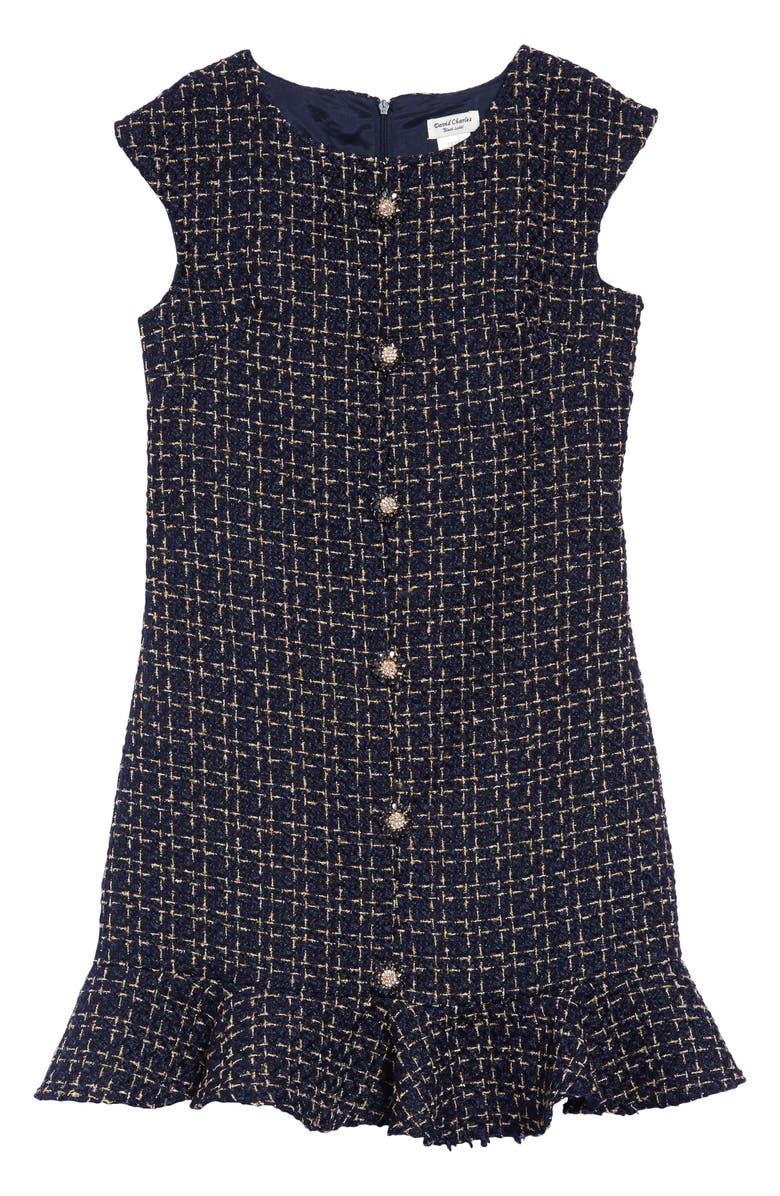 DAVID CHARLES Tweed Ruffle Hem Dress, Main, color, 410