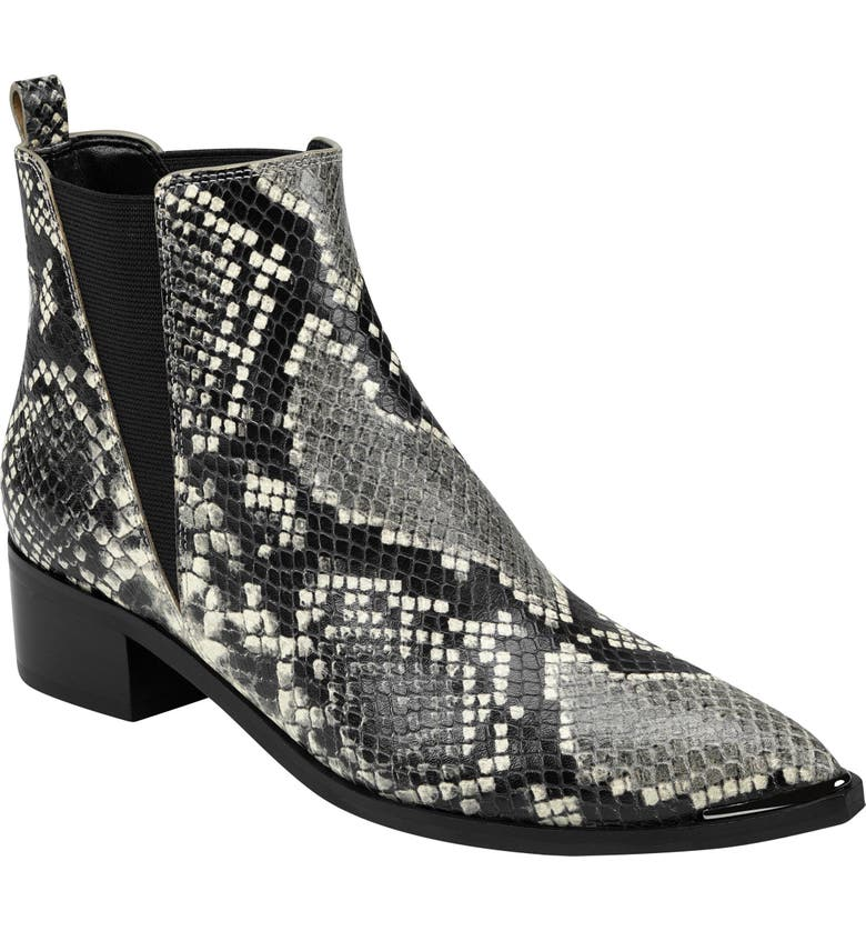 MARC FISHER LTD Yale Chelsea Boot, Main, color, BLACK WHITE SNAKE PRINT