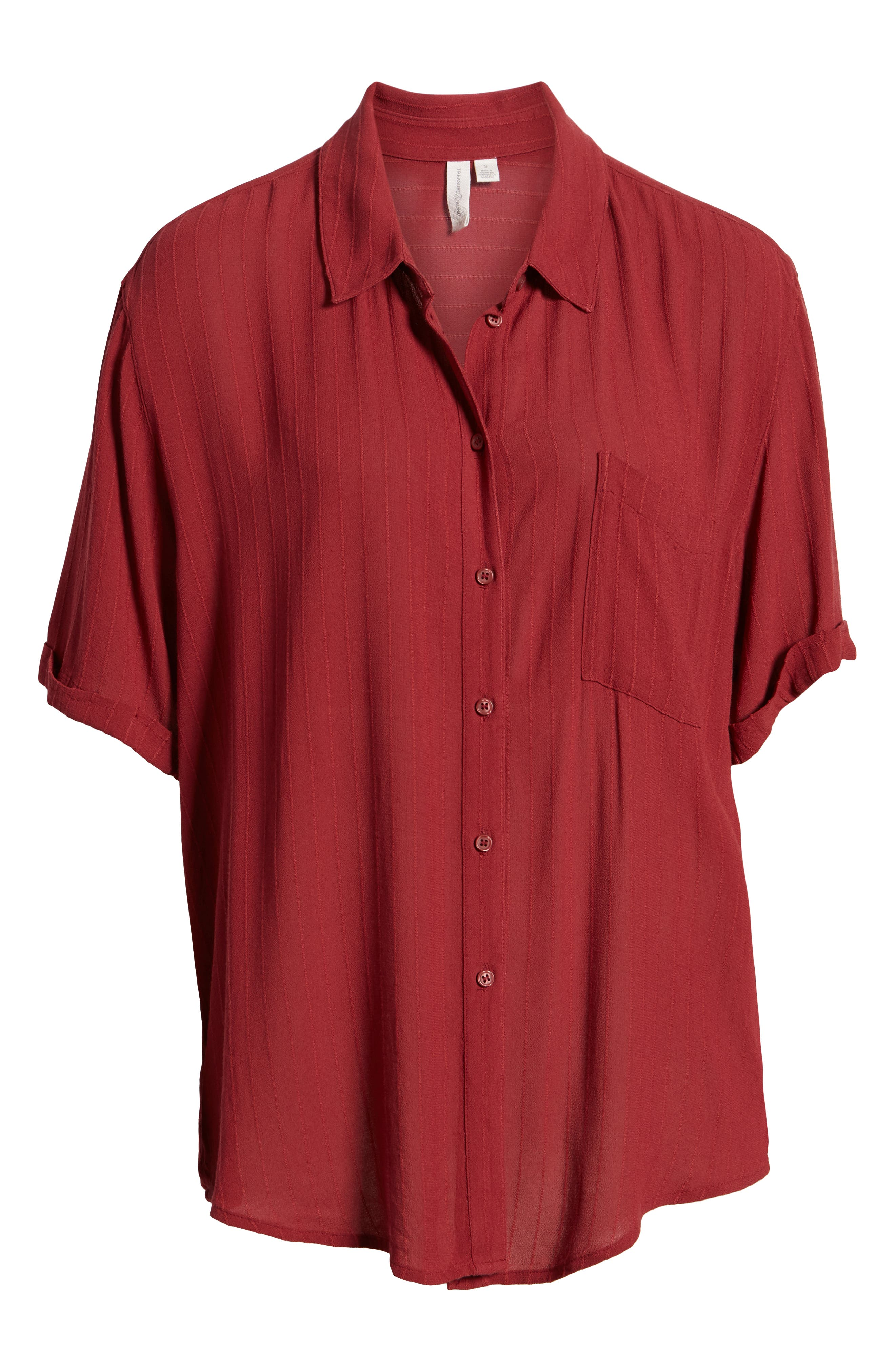 ,                             Relaxed Stripe Blouse,                             Alternate thumbnail 6, color,                             RED RUSSET