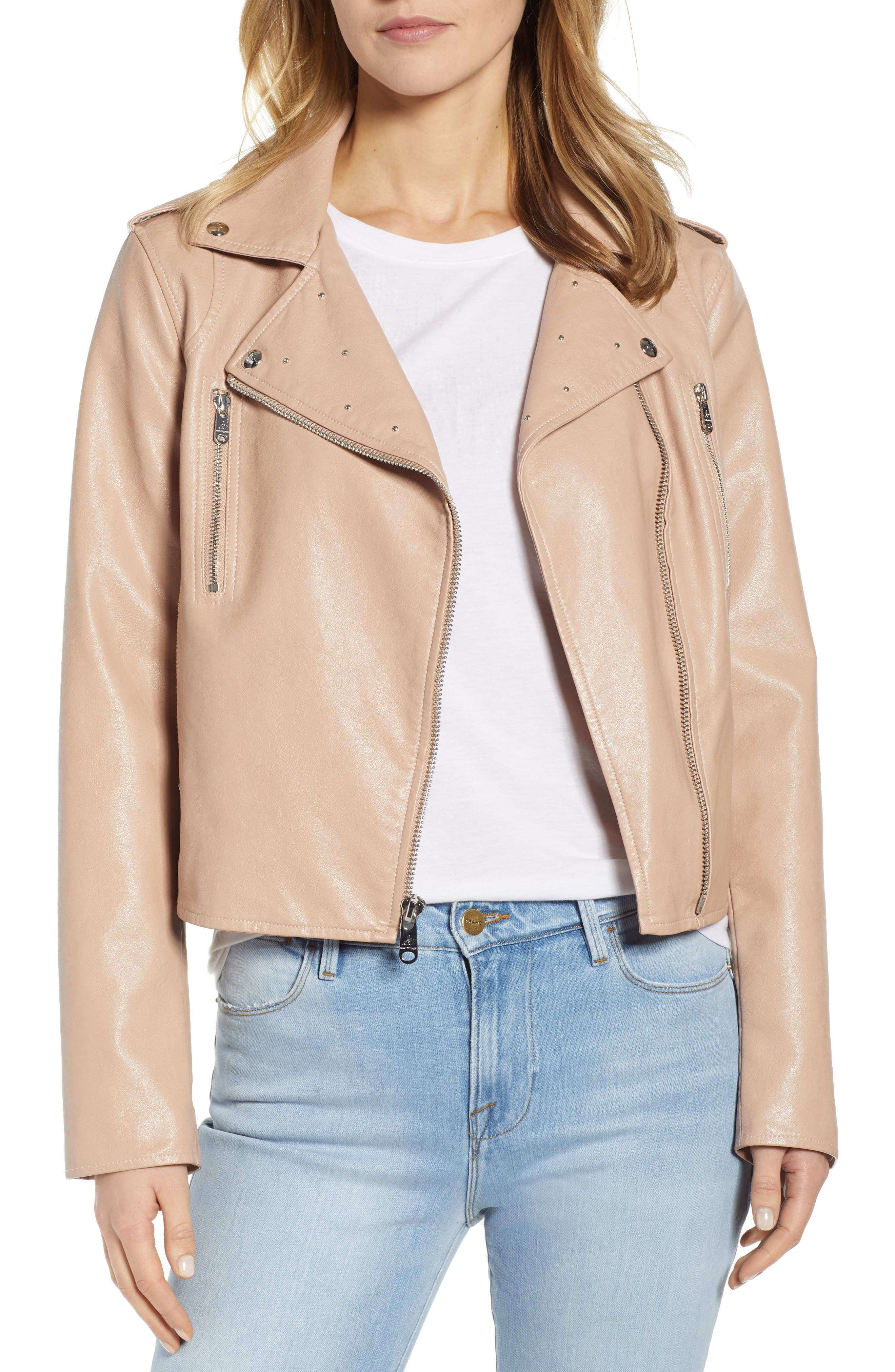 ,                             Washed Faux Leather Moto Jacket,                             Main thumbnail 1, color,                             NUDE