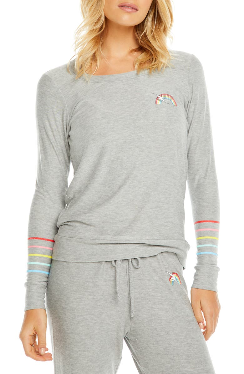 CHASER Rainbow Bolt Cozy Pullover, Main, color, H GREY