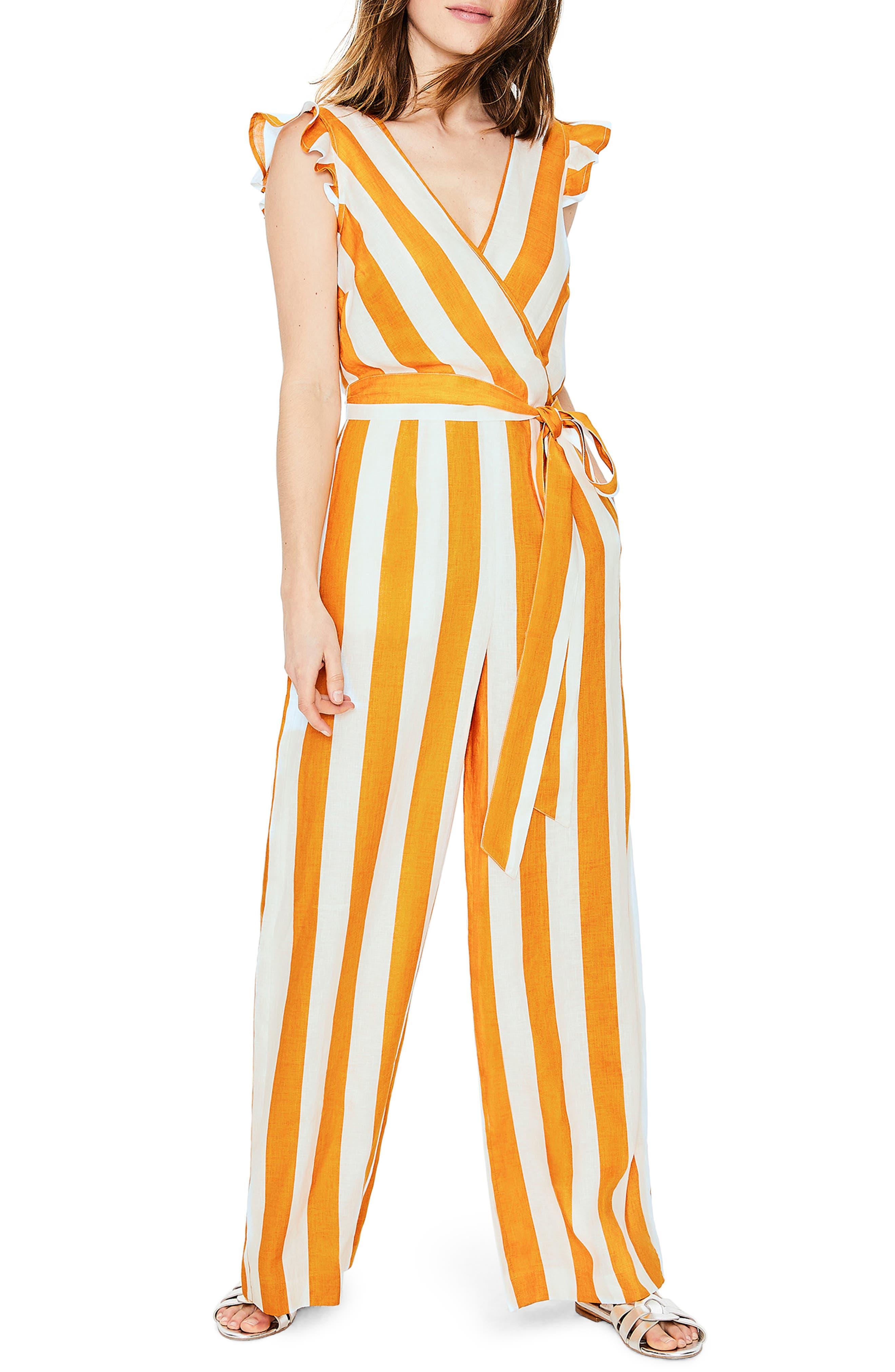 Petite Boden Mila Stripe Linen Jumpsuit, Yellow