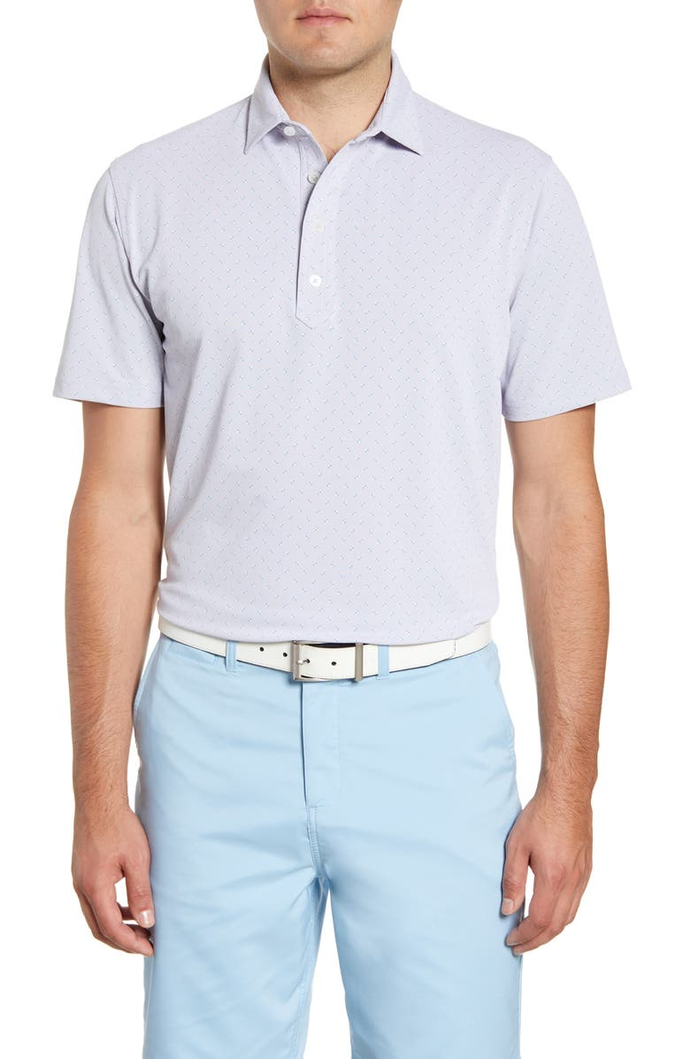 JOHNNIE-O Fields Classic Fit Print Performance Polo, Main, color, SEAL