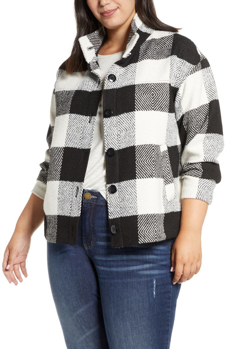 CASLON<SUP>®</SUP> Buffalo Check Jacket, Main, color, IVORY- BLACK BUFFALO CHECK