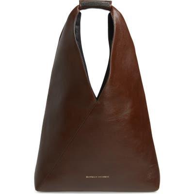 Brunello Cucinelli Monili Bead Leather Convertible Tote - Brown