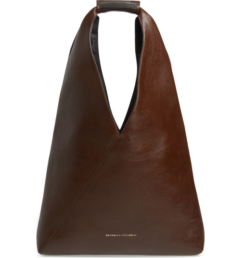 BRUNELLO CUCINELLI Monili Bead Leather Convertible Tote, Main, color, 206