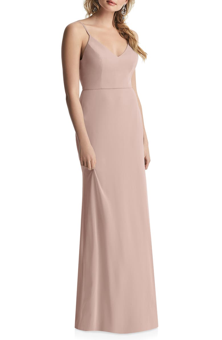 AFTER SIX Cowl Back Chiffon Trumpet Gown, Main, color, TOASTED SUGAR