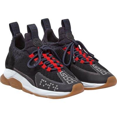 Versace Cross Chainer Neoprene Sneaker, Black