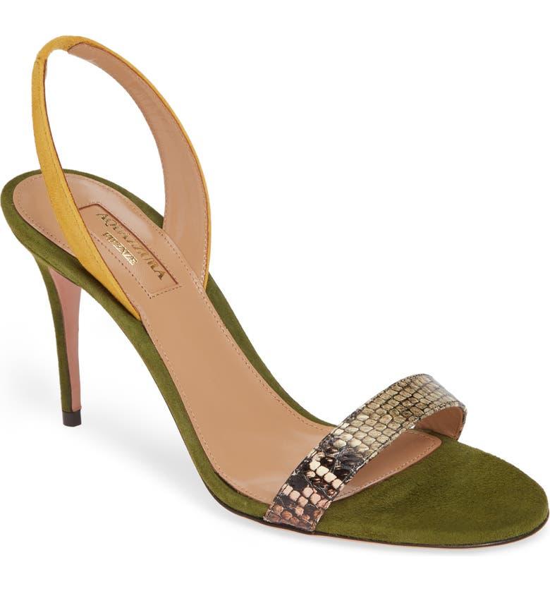 AQUAZZURA So Nude Snake Embossed Slingback Sandal, Main, color, GREEN SNAKE