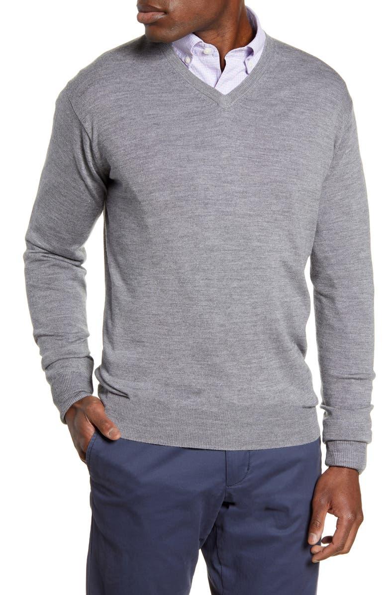 PETER MILLAR Crown Wool & Silk V-Neck Sweater, Main, color, BRITISH GREY