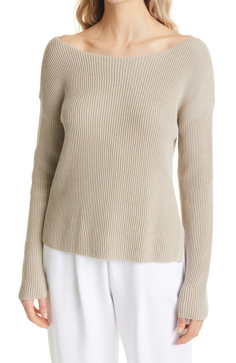 MAX MARA LEISURE Wide Boatneck Ribbed Sweater, Main, color, BEIGE