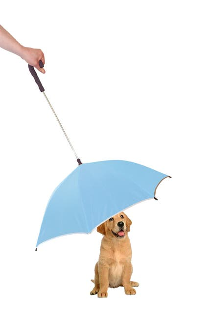 Image of Pet Life Light Blue/Black Pour-Protection Umbrella With Reflective Lining & Leash Holder