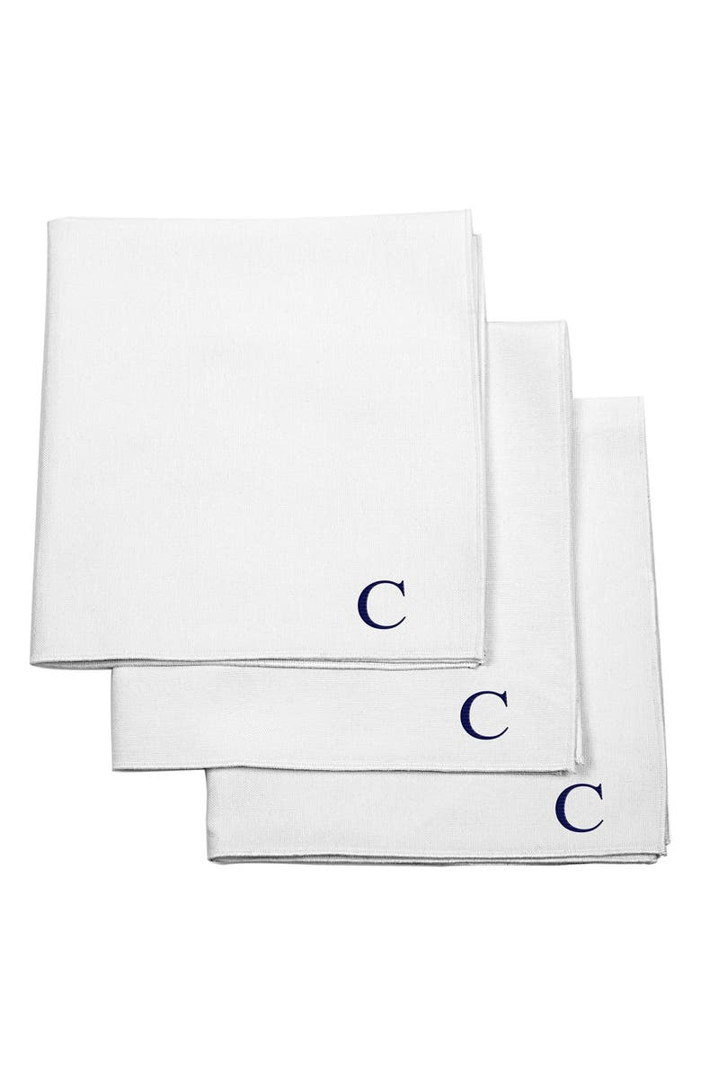 CATHY'S CONCEPTS Set of 3 Monogram Cotton Pocket Squares, Main, color, C