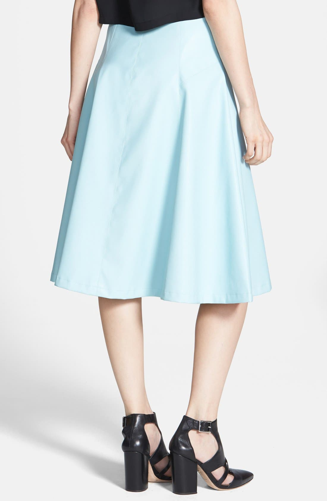 ,                             ASTR Faux Leather A-Line Midi Skirt,                             Alternate thumbnail 5, color,                             416
