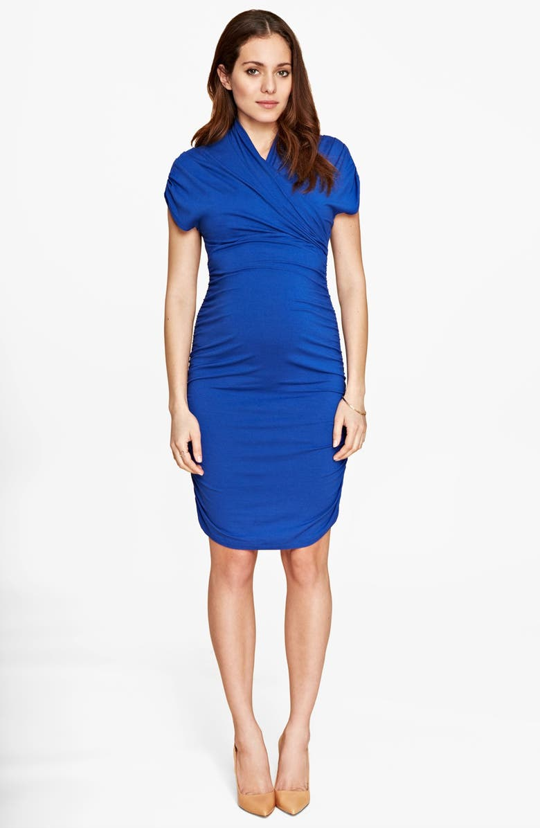 ISABELLA OLIVER 'Grace' Ruched Maternity Dress, Main, color, 400