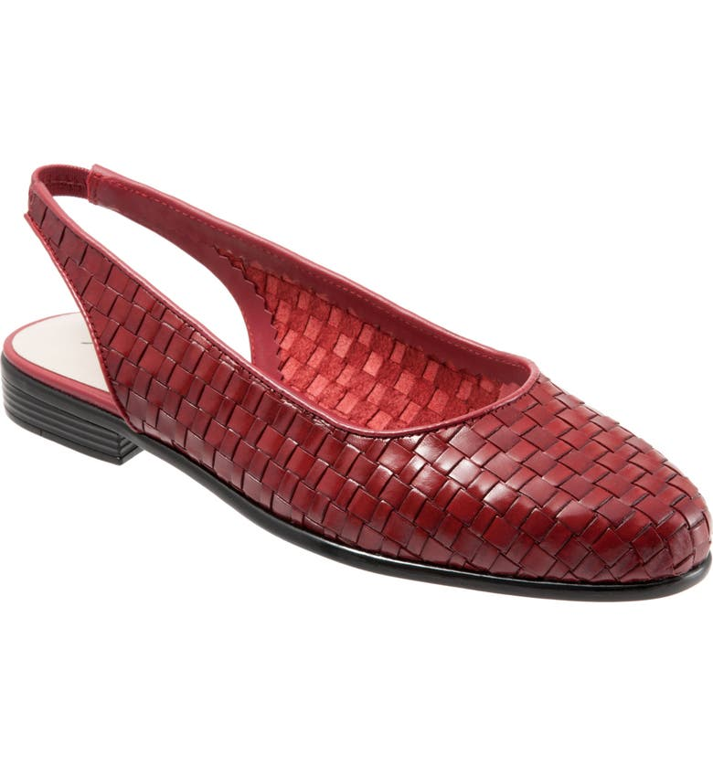 TROTTERS Lucy Slingback Flat, Main, color, RED LEATHER