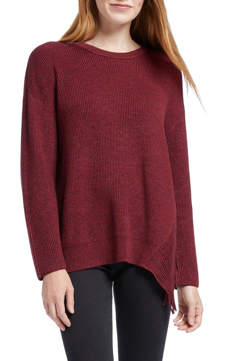 NIC+ZOE Fringe Times Sweater, Main, color, PORT