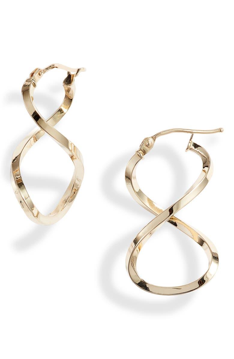 BONY LEVY Open Twist Hoop Earrings, Main, color, YELLOW GOLD
