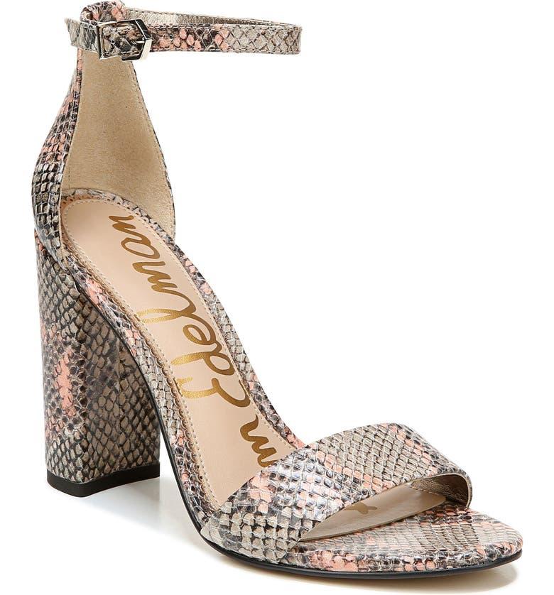 SAM EDELMAN Yaro Ankle Strap Sandal, Main, color, NUDE/ PEACH LEATHER