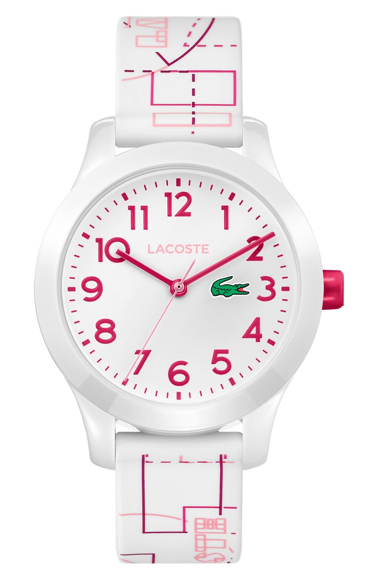 LACOSTE 12.12 Rubber Strap Watch, 32mm, Main, color, WHITE