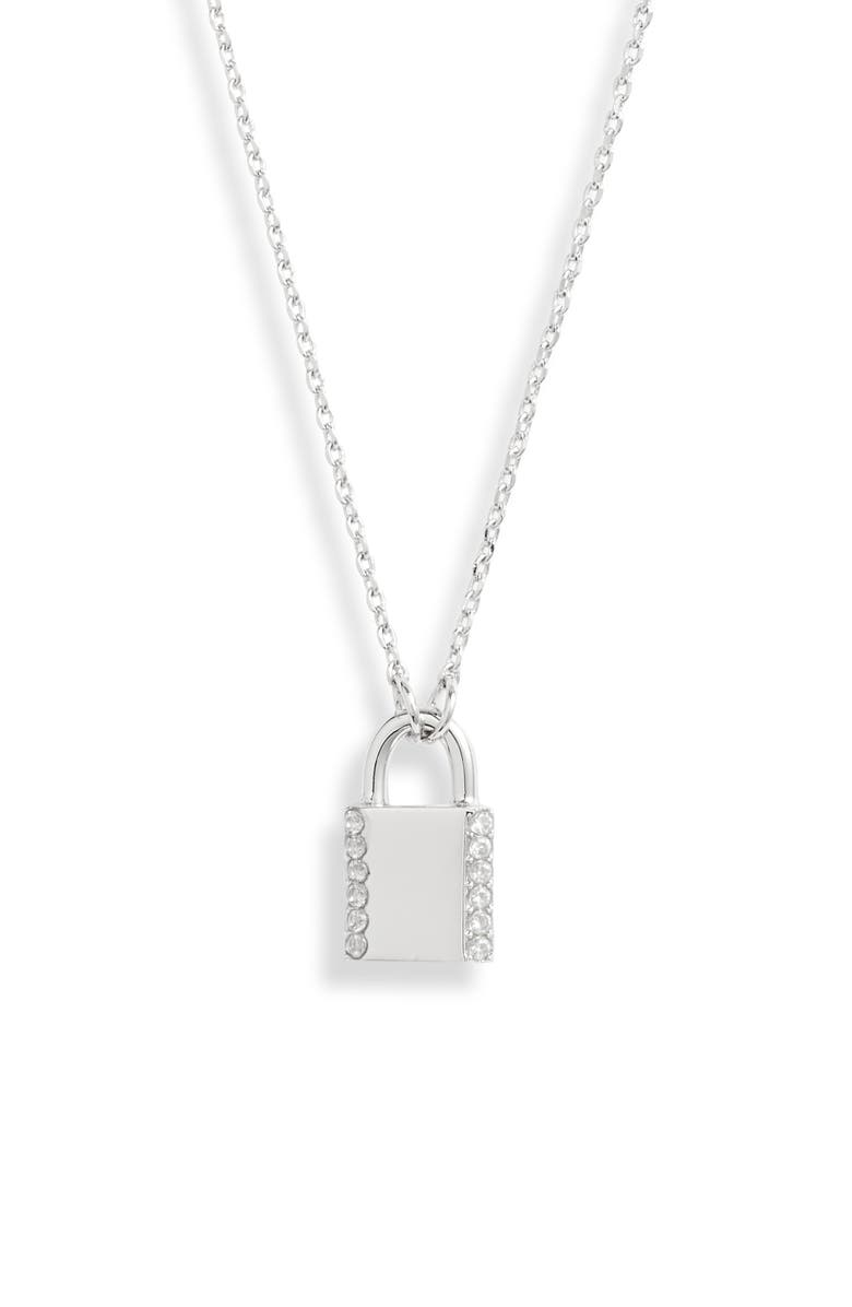 KATE SPADE NEW YORK pavé lock mini pendant necklace, Main, color, CLEAR/ SILVER