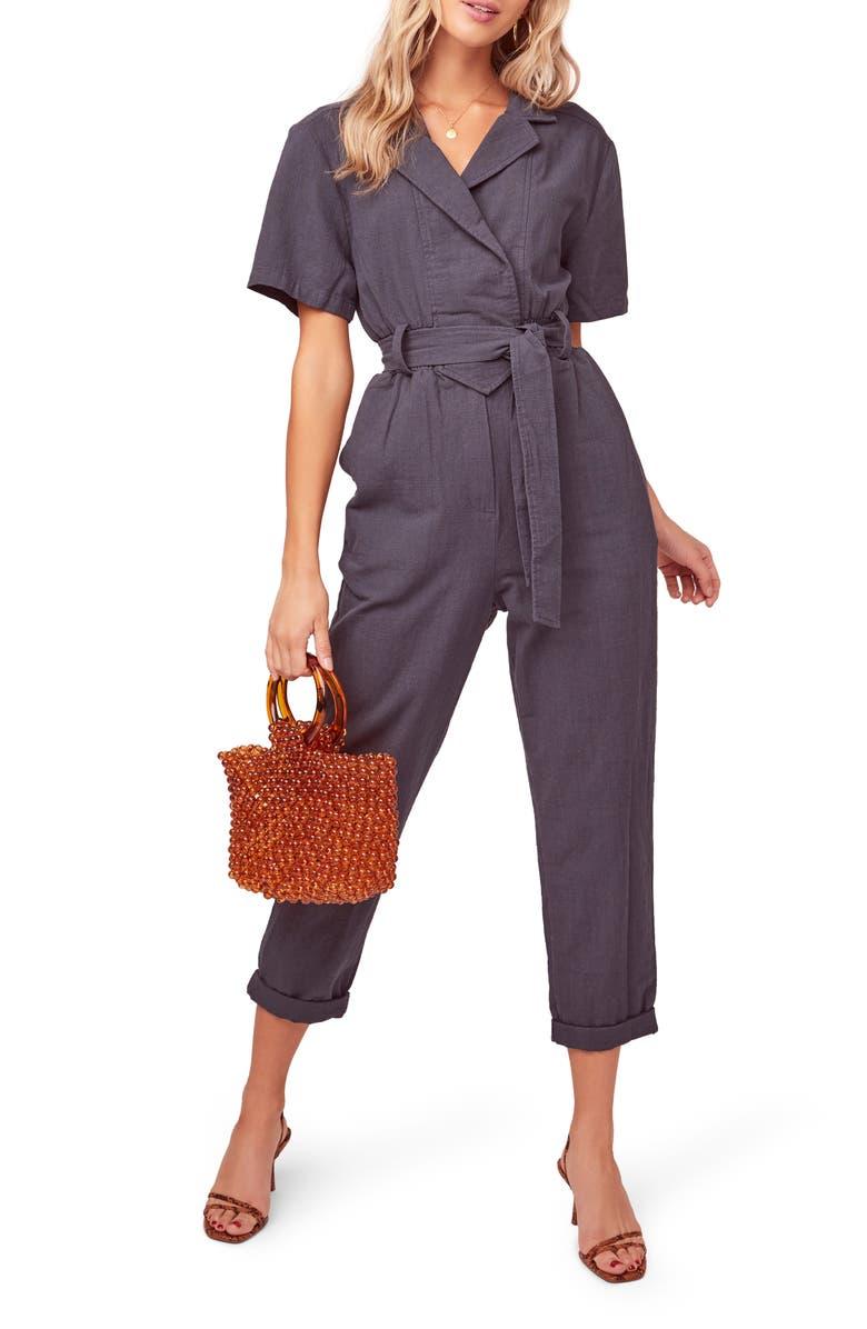 ASTR THE LABEL Coco Linen Blend Utility Crop Jumpsuit, Main, color, VINTAGE NAVY