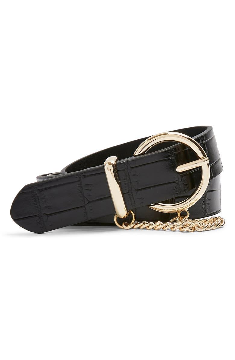 TOPSHOP Croc Chain Belt, Main, color, BLACK