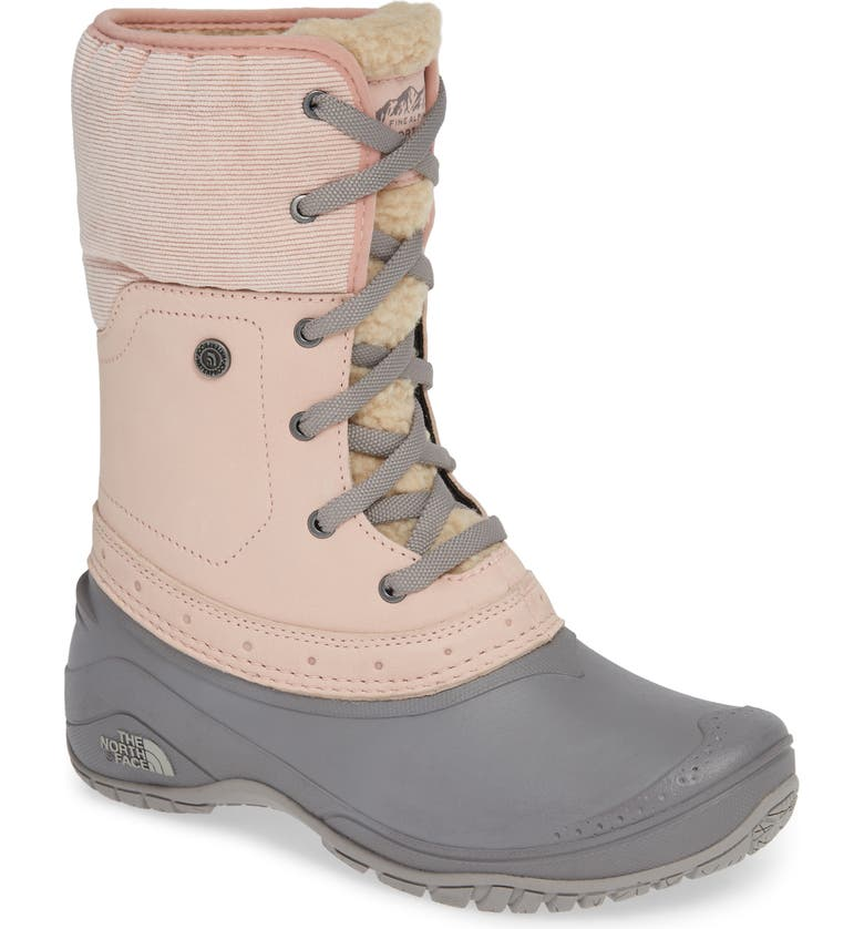 THE NORTH FACE Shellista Roll Cuff Waterproof Insulated Winter Boot, Main, color, MISTY ROSE/ Q-SILVER GREY