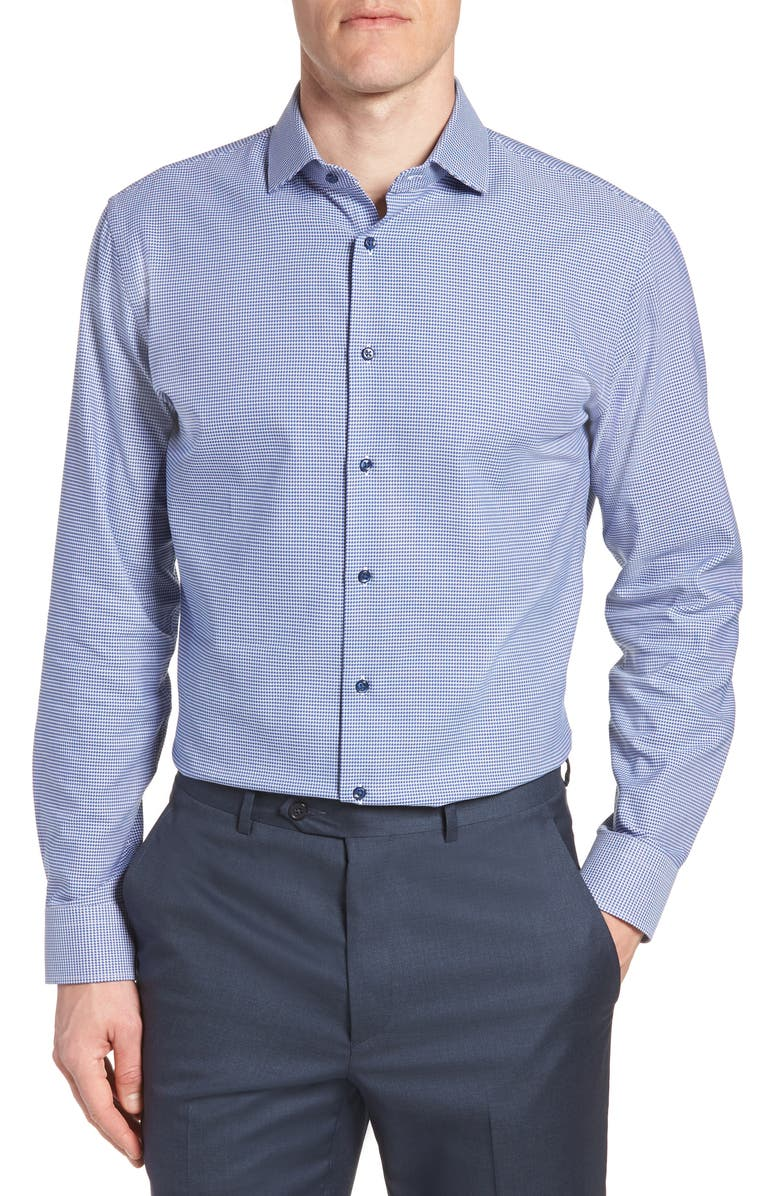 NORDSTROM MEN'S SHOP Tech-Smart Trim Fit Stretch Texture Dress Shirt, Main, color, NAVY MEDIEVAL