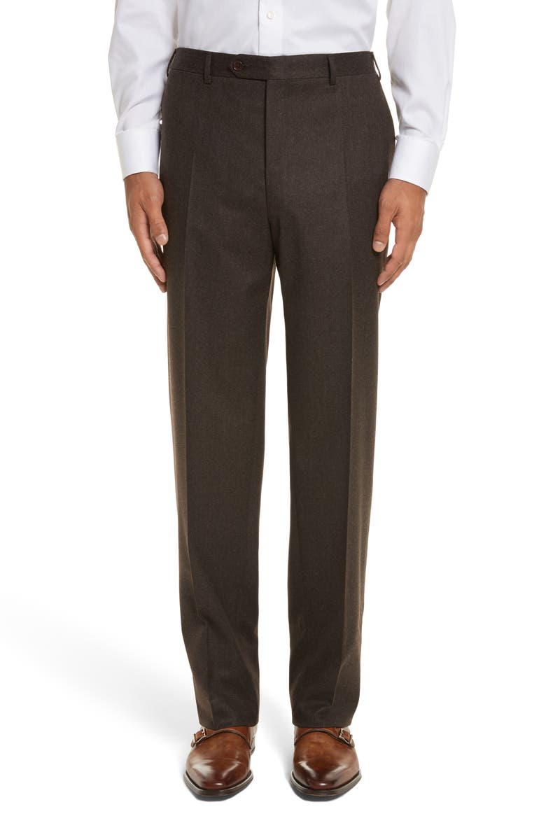 CANALI Flat Front Solid Wool Trousers, Main, color, BROWN
