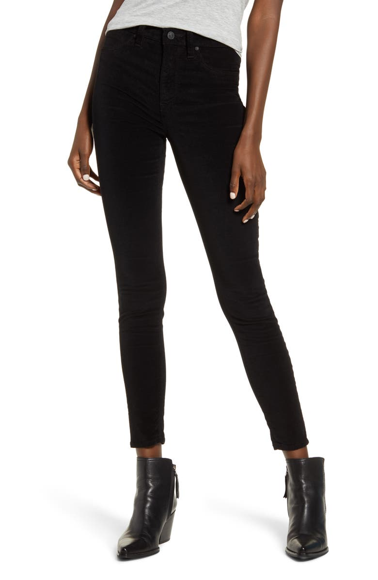 HUDSON JEANS Barbara High Waist Velvet Super Skinny Jeans, Main, color, BLACK