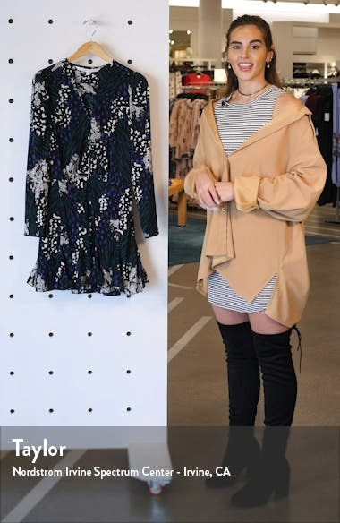 Riggins Floral Long Sleeve Stretch Silk Minidress, sales video thumbnail