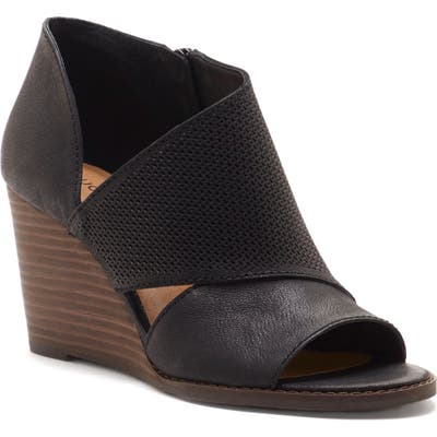 Lucky Brand Jedrek Perforated Open Toe Wedge Bootie- Black