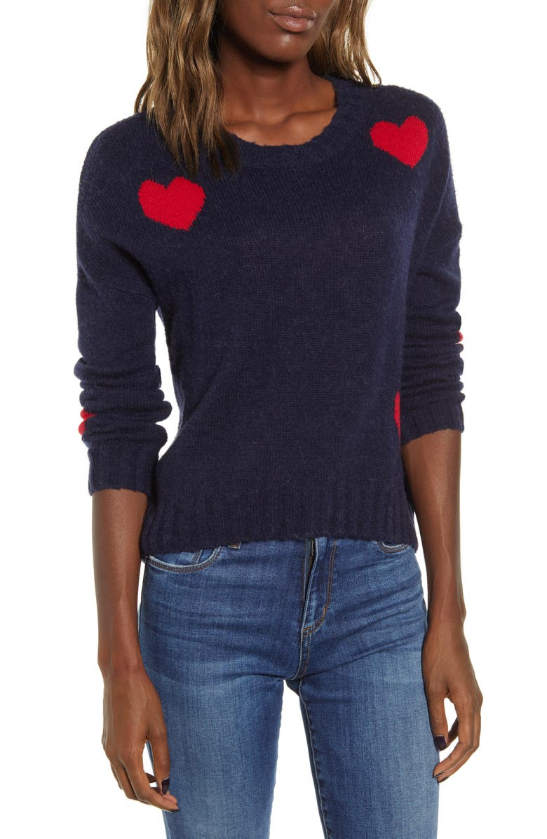 RAILS Perci Sweater, Main, color, NAVY SCARLET HEARTS