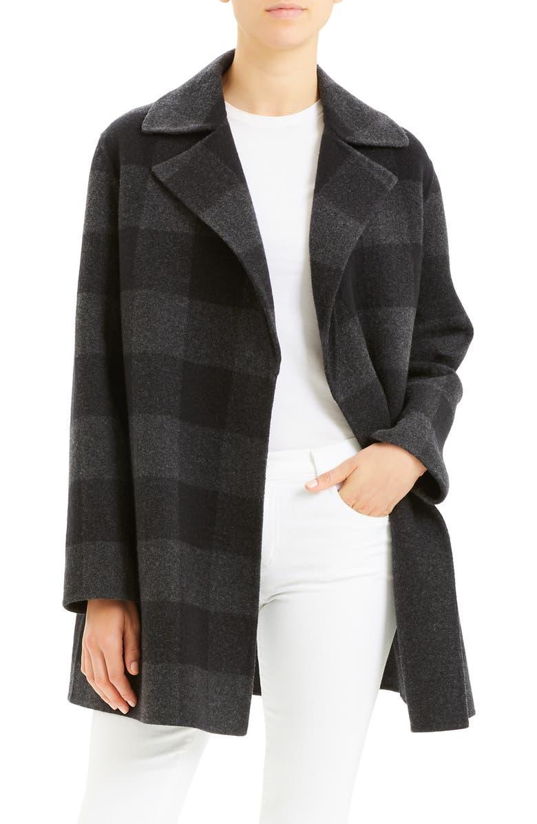 THEORY Buffalo Plaid Wool Coat, Main, color, BLACK MULTI