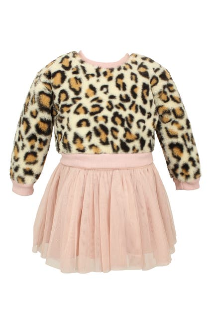 Image of Popatu Faux Fur Leopard & Tulle Top & Skirt Set