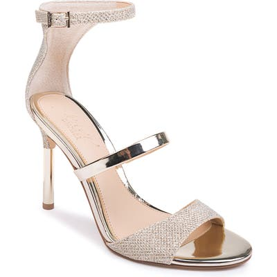 Jewel Badgley Mischka Rihanna Sandal- Metallic