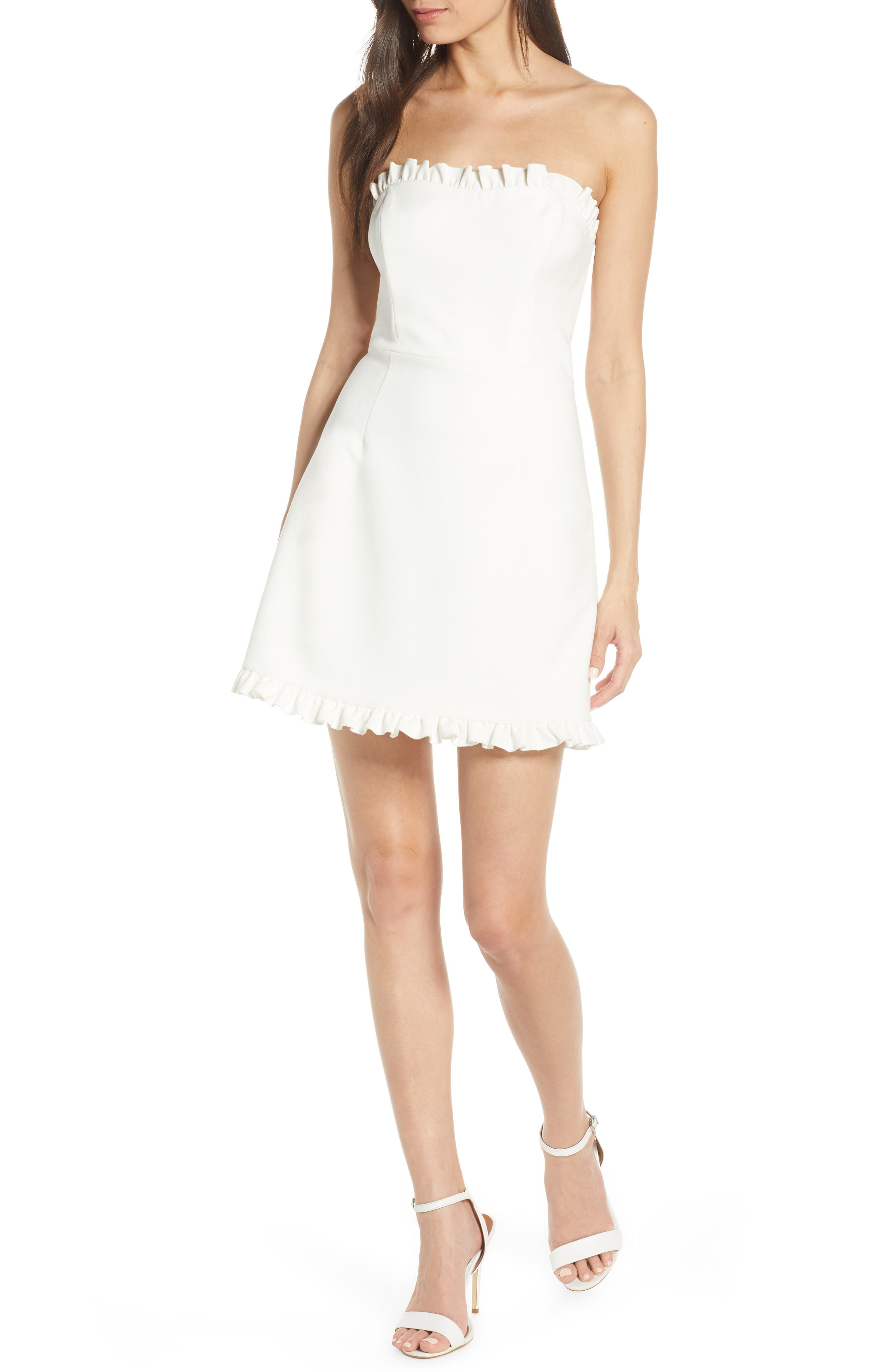 French Connection Whisper Convertible Strap Dress, White